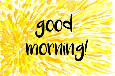 Good morning greeting on yellow watercolor painted background
