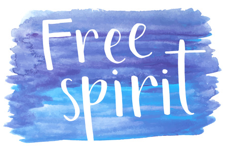 free spirit: Free spirit hand lettering text on blue watercolor background