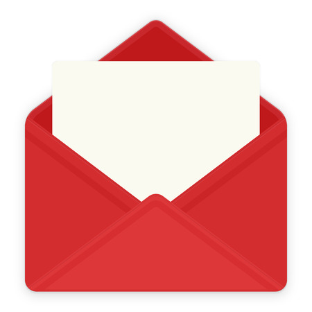 red envelope: Red envelope with white paper with empty space for text