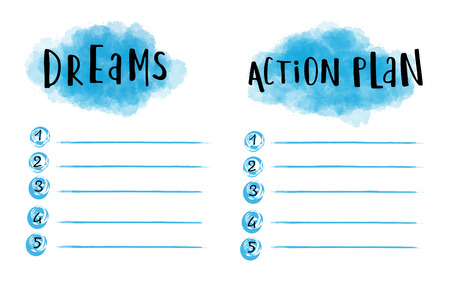 action plan: Dreams and action plan strategy for a successful life Illustration