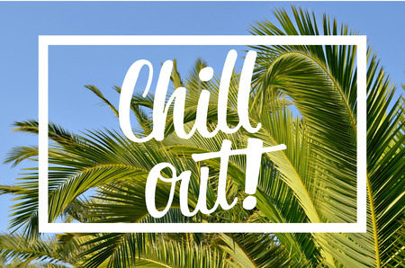 chill out: Chill out hand lettering message with palm leaves background Stock Photo