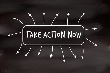 promptly: Take action now motivational message written on blackboard