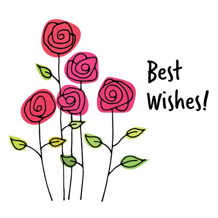 best wishes: Best wishes card with hand drawn colorful flowers Stock Photo