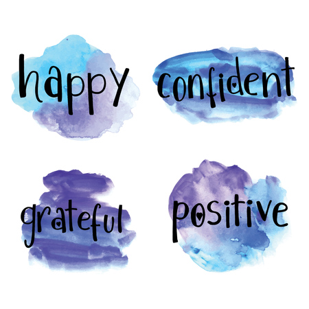 grateful: Happy, confident, grateful, positive inspirational painted background isolated on white Stock Photo