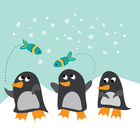 winter scene: Winter scene with three cute penguins and flying fish Illustration