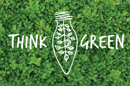 recycling campaign: Think green ecology friendly concept on natural leaves background