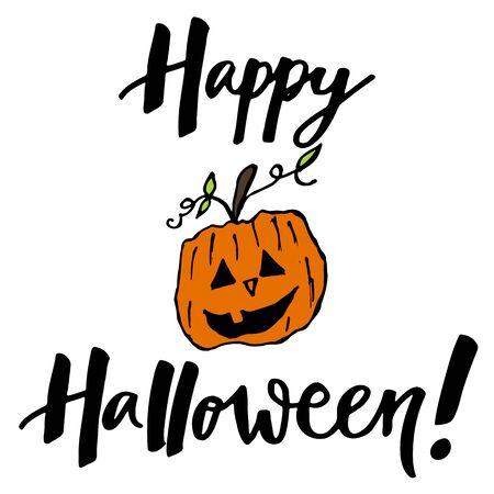 hand lettering: Happy Halloween hand lettering wish with orange pumpkin Illustration