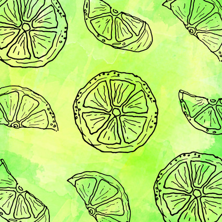 multitude: Hand drawn lemons decorative pattern background Stock Photo
