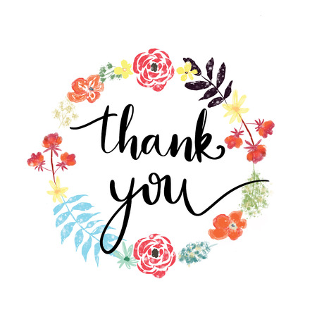 Thank you hand lettering message on wreath of flowers Stock Photo
