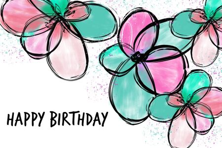 Happy birthday greeting card with pastel colored flowers