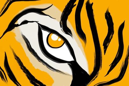 抽象的な塗られた虎柄手描きの背景 写真素材