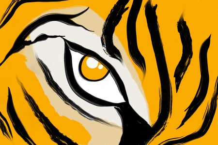 Abstract painted tiger pattern hand painted background
