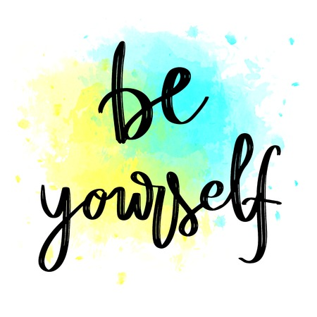 Be yourself hand lettering message on blue and yellow watercolor background