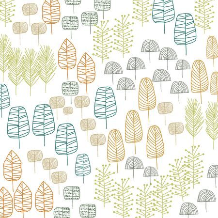Doodle trees pattern design in retro colors