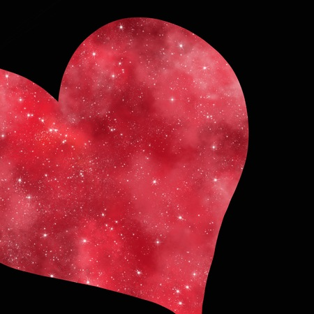 Abstract glittering red heart over black background