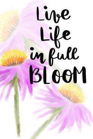 背景が紫色の花満開手書きメッセージで人生を生きる 写真素材