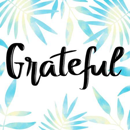 青と黄色の葉の背景に手書き感謝のメッセージ