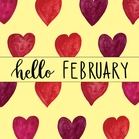 Hello February handwriting message over painted heart background