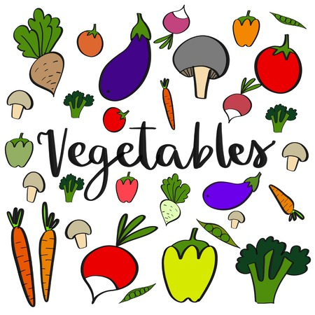 Colorful vegetables pattern background over white background Stok Fotoğraf