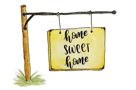 ホーム甘いホーム手書きスケッチのプラカードにメッセージ 写真素材