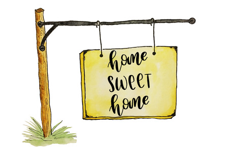 Home sweet home handwriting message on sketched placard Reklamní fotografie