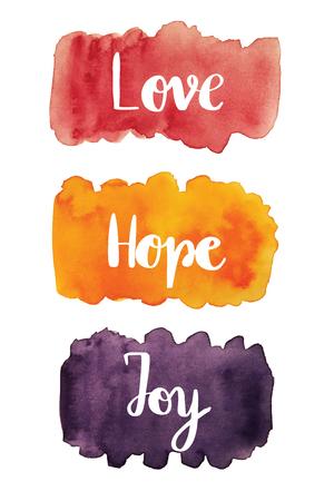 愛、希望、喜び、水彩汚れ背景に手書きのテキスト 写真素材