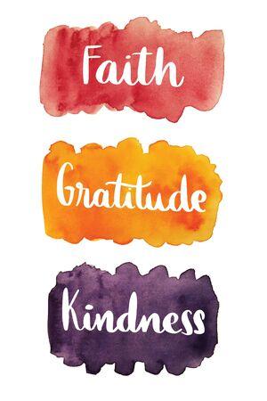 信仰、感謝、優しさ、水彩汚れ背景に手書きのテキスト