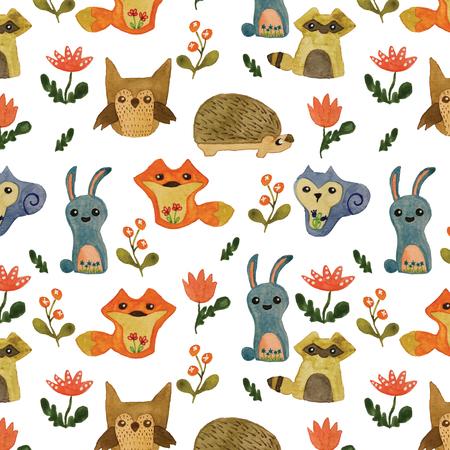 かわいい動物の森のシームレスなパターンの背景から