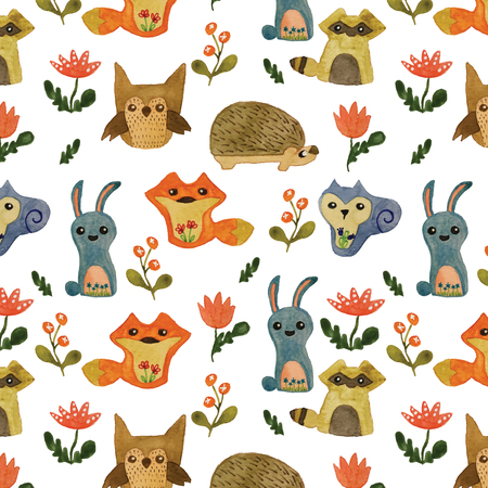 Cute animals from the forest seamless pattern background