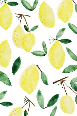 白で隔離緑の葉で黄色いレモン パターン背景