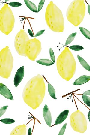 Yellow lemon pattern background with green leaves isolated on white