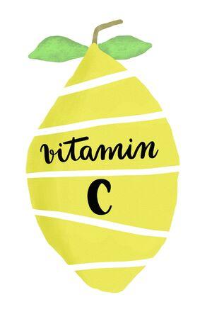 白で隔離スライスの黄色いレモンで手書きビタミン C