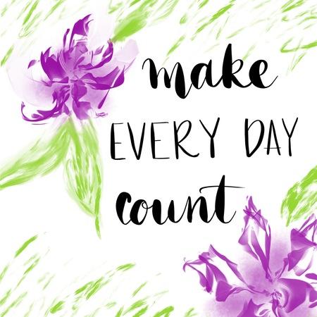 すべて日カウントのやる気を起こさせるメッセージ抽象的なフローラル背景を作る