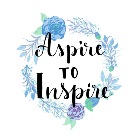Aspire to inspire motivational message on flowers wreath Banco de Imagens