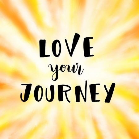 Love your journey inspirational message on orange background