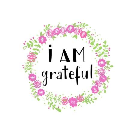 私は花の花輪に感謝の心に強く訴えるメッセージ 写真素材