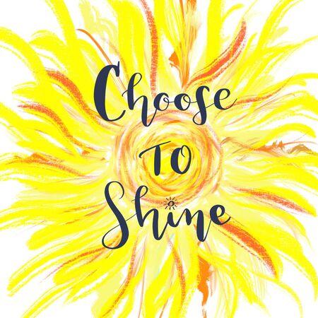 黄色の太陽を心に強く訴えるメッセージを輝きを選択します。 写真素材