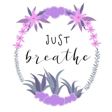 ちょうど息手レタリング メッセージ花の紫の花輪で