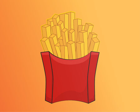 Vector design of French fries with full color