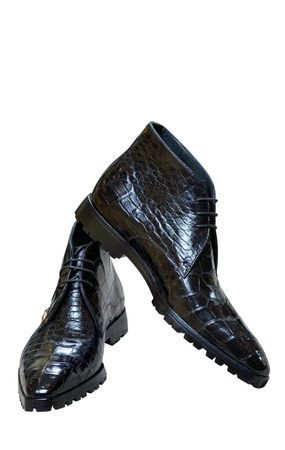 mans boots from skin of a crocodile photo