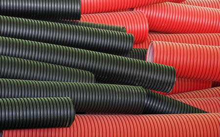 diameters: Pipes made of polyethylene. Various diameters and colors