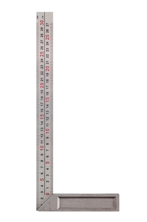 A square ruler isolated on white background Stock Photo
