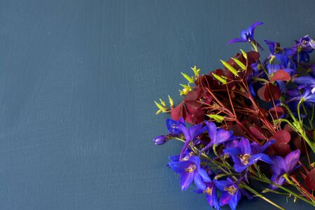 Purple flowers arrangement flat lay postcard style on turquoise wooden background.
