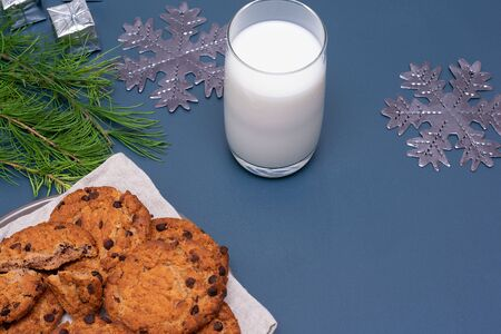 Milk and chocolate cookies for Santa Claus