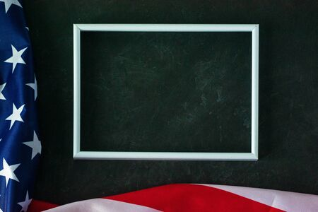 American flag on a black background. Memorial Day, Veterans Day, Labor Day. Place for text. Banque d'images - 136259549