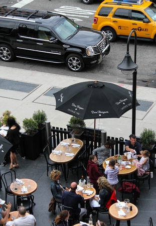 street lamp: New York stylish cafe w  outside sitting and street view, shooting from the top Editorial