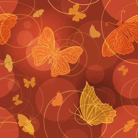 wallpaper  eps 10: Glowing butterflies vector seamless pattern