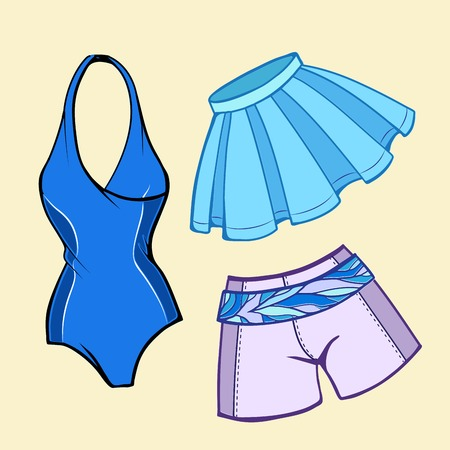 lillac: Vector beach summer clothes set. Illustration
