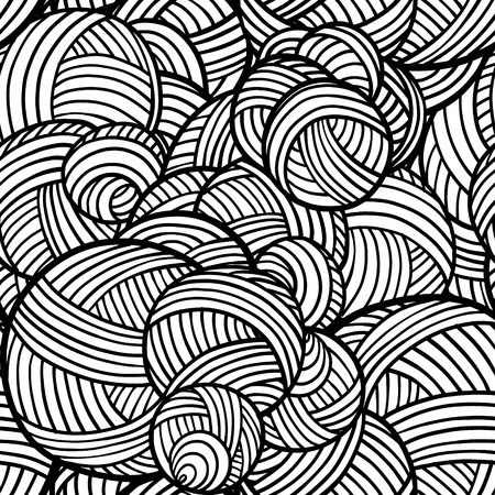 Black and white lines, rounds and curves seamless pattern