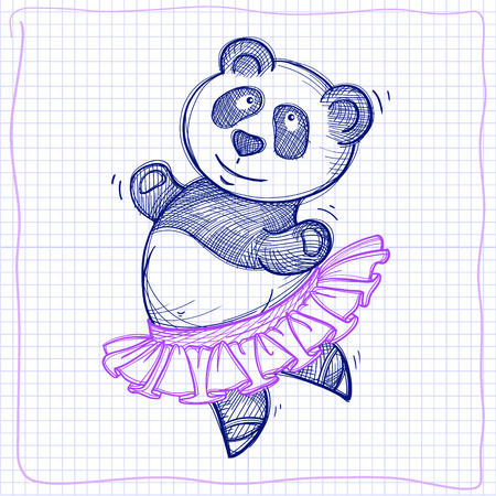 ballet tutu: Vector sketch of a funny dancing panda on a check background Illustration